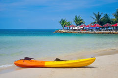 Kayak laid on beach Stock Photo
