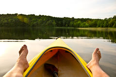 Kayak on Lake feet Stock Images