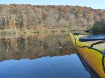 Kayak on the lake. Morning kayak ride on the morning waters Stock Photo