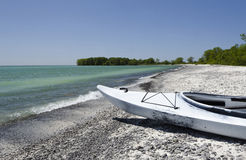 Kayak on Lake Ontario Shoreline Royalty Free Stock Photos