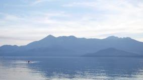 Kayak on Lake Skadar in Montenegro. Tourist kayaking. Aerial Pho. To drone stock footage