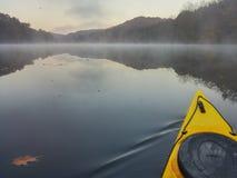 Kayak on the lake. Sunrise on the lake Stock Photo