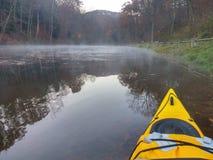 Kayak on the lake. Sunrise on the lake Stock Photography