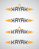 Kayak logo with boat shape Stock Photos