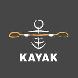 Kayak logo created in tribal style Stock Image