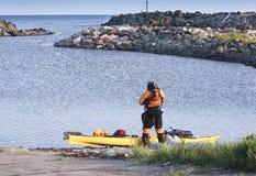 Kayak man surfer royalty free stock image