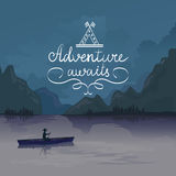 Kayak in a mountain lake. adventure awaits. logo Royalty Free Stock Images