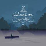 Kayak in a mountain lake. adventure awaits. logo Royalty Free Stock Images