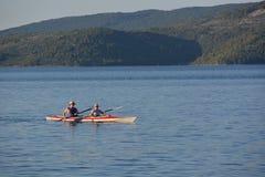 Kayak near island Cres Royalty Free Stock Images