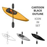 Kayak with oars.Extreme sport single icon in cartoon style vector symbol stock illustration web. Royalty Free Stock Photography