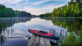 Free Kayak On A Dock In Lake Kabetogama In Voyageurs National Park Stock Photos - 211032363