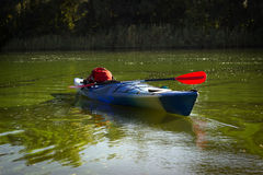 Kayak in open water. Royalty Free Stock Photography