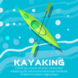 Kayak. And paddle. Vector illustration of Outdoor activities elements -  and rowing oar.  , sea Stock Photography