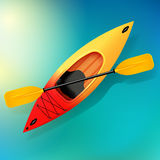 Kayak and paddle Vector on water illustration of Outdoor activities. Yellow red kayak, sea kayak. Kayak and paddle. Vector illustration of Outdoor activities Stock Photo