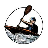Kayak Paddler Canoe Scratchboard Stock Photo