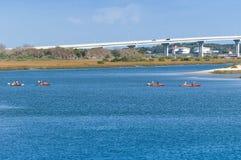 Kayak paddlers in St. Augustine, Florida. Kayak paddlers on Intracoastal waterway in St. Augustine, Florida stock photo
