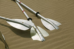 Kayak paddles laying in the sand Royalty Free Stock Photos