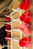 Kayak paddles. A row of paddles on stand Royalty Free Stock Photography