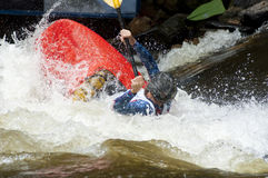 Kayak in paddling competition. Royalty Free Stock Photos
