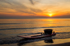 Kayak park by the sea at sunrise. Royalty Free Stock Photos