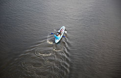 Kayak. People kayaking on Dnipro river. Kiev, Ukraine. Royalty Free Stock Photography