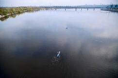 Kayak. People kayaking on Dnipro river. Kiev, Ukraine. Stock Photography