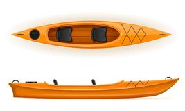 Kayak from plastic for fishing and tourism vector illustration Royalty Free Stock Photography