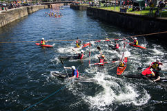 Kayak polo. Water sport in albert dock Stock Photos