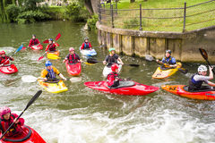 Kayak practice in river Cam Royalty Free Stock Images