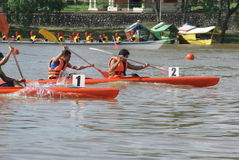 Kayak race. Competitions during Sarawak Regatta.Sarawak Regatta is an annually events of a longboat race in conjunctions of Sarawak Independent in Malaysia Royalty Free Stock Photo