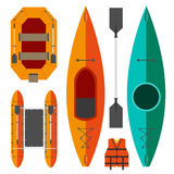 Kayak and raft boats. On a white background in orange and green colors Royalty Free Stock Image