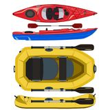 Kayak and rafting inflatable rubber boat vector flat illustration royalty free illustration