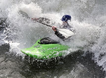 Kayak on the Rapids. Man paddling his Kayak on White Water Rapids Stock Photos
