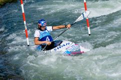 Kayak on the rapids - Gold medalist -  Dukatova Royalty Free Stock Photo