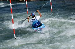 Kayak on the rapids. The women's race on white water - 67th International Tatra Slalom / ICF - C category  may 2015- Liptovský Mikuláš Slovakia Royalty Free Stock Images