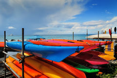 Kayak. Rent colorful kayak on sea beach Stock Photos