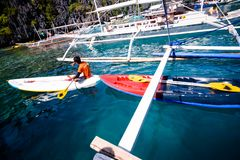 Kayak for rent to enable to tour the limestone island of El Nido. Palawan Stock Photography