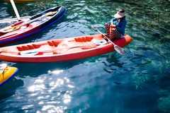 Kayak for rent to enable to tour the limestone island of El Nido. Palawan Royalty Free Stock Photos