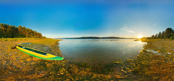 Kayak on river coast. panorama, Royalty Free Stock Images