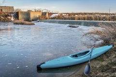 Kayak and river diversion dam Royalty Free Stock Photo