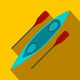 Kayak and rowing oar flat icon Stock Photo