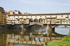 Kayak Rowing Under Ponte Vecchio Stock Photos