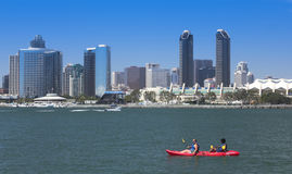 A Kayak's View of San Diego Bay and Downtown Royalty Free Stock Image