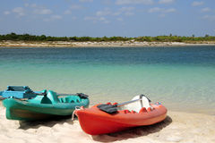Kayak in the sand beach. Sport boats kayak at lake Royalty Free Stock Images