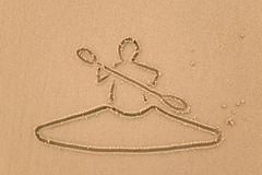 Kayak sand drawing Royalty Free Stock Image