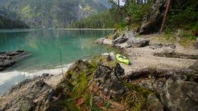 Kayak on the scenic lake shore. Vacation kayak trip on the Blindsee Lake stock video