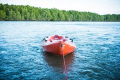 A kayak on the sea. royalty free stock photography