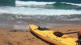 Kayak on the seashore stock footage