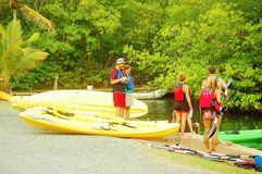Kayak security lesson on the water Stock Photography