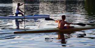 Kayak series. A kayakers' adventure on the water Stock Photos